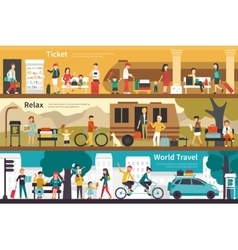 Ticket relax world travel flat interior outdoor vector