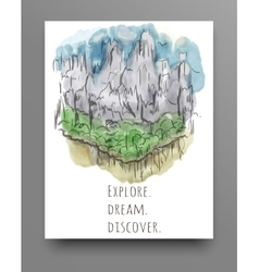 Travel concept hand drawn over green watercolor vector