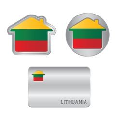 Home icon on the lithuania flag vector