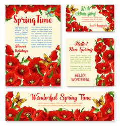 Springtime floral banner greeting card template vector
