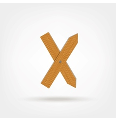 Wooden boards letter x vector