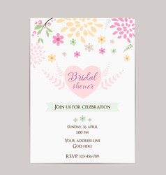 Bridal shower invitation template simple design vector