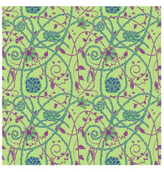 Medieval flowers pattern green vector