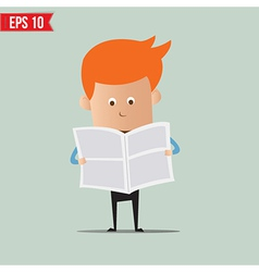 Business man reading newspaper - - eps10 vector