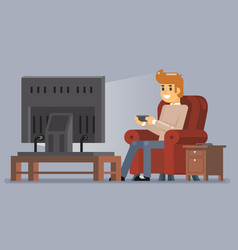 young man watching tv playing game sit armchair vector image
