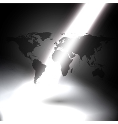 World map in the rays of light on gray background vector