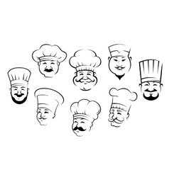 Set of smiling chefs heads vector image