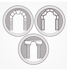 Three types brick arch icon vector