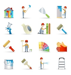Painter icons set flat vector