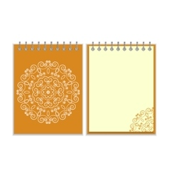 Orange cover notebook with round floral pattern vector