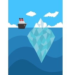 Ship near iceberg danger concept vector