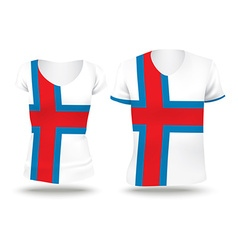 Flag shirt design of faroe islands vector