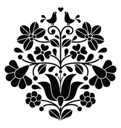 Kalocsai black embroidery - hungarian floral folk vector