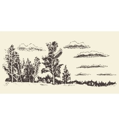 Hand drawn landscape forest meadow clouds vector
