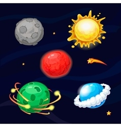 Set of cartoon fantastic planets vector