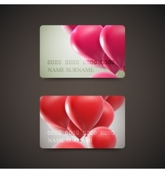 Gift cards with flying balloons vector