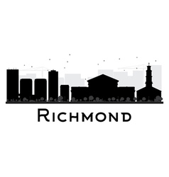 Richmond city skyline black and white silhouette vector