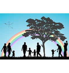 Gay and lesbian couples and family with children vector