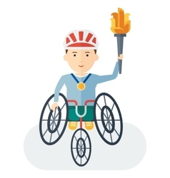 Handicapped athlete holding torch vector