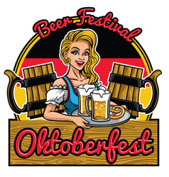 beutiful girl of oktoberfest design presenting vector image vector image