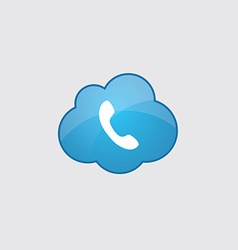 Blue cloud Phone icon vector image vector image
