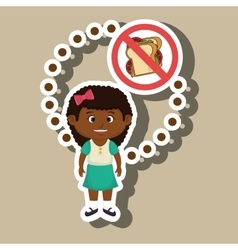 cartoon child girl fast food danger symbol vector image
