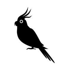 Corella parrot silhouette icon in flat style vector
