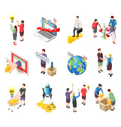 Crowdfunding isometric icons set vector
