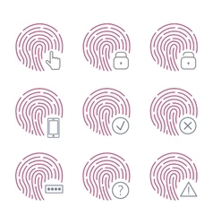 Fingerprint scanner icons on white background vector