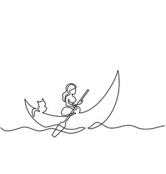 girl with cat on dinghy moon vector image