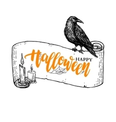 Happy halloween banner with lettering and vector