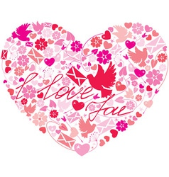 Heart flowers vector image vector image