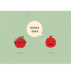 Hipster apple and pomegranate on a card for rosh vector