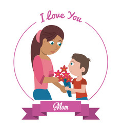 I love you mom card - woman and son gifting vector