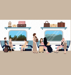 Inside train business class situation people vector