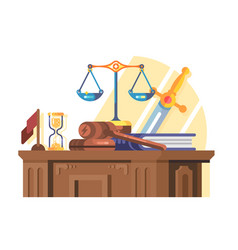 Jurisprudence court and law concept flat vector