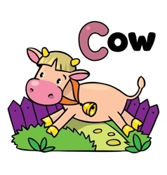 Little funny cow or calf for ABC Alphabet C vector image vector image