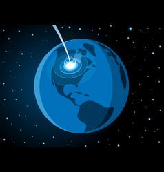 Meteorite impacting earth scene vector
