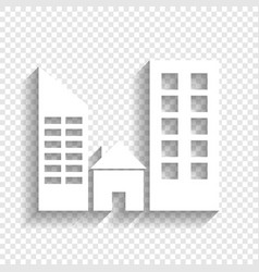 Real estate sign white icon with soft vector