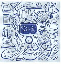 school and education sketch set vector image