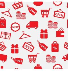 seamless background with shopping icons vector image vector image