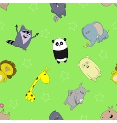 Seamless pattern with cute cartoons vector image