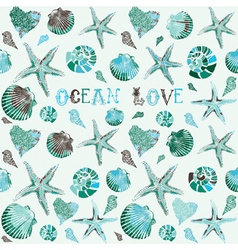 Seashells Ocean Love Background vector image vector image