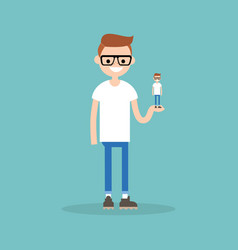 Self presentation young character holding his 3d vector