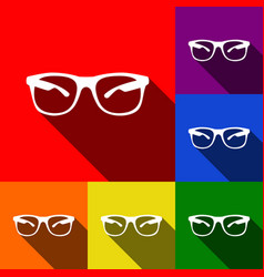 sunglasses sign set of icons vector image vector image