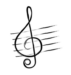 Treble clef hand drawn in grunge style or vintage vector