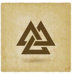 Valknut symbol interlocked triangles old vector