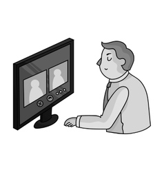Video conference icon in monochrome style isolated vector