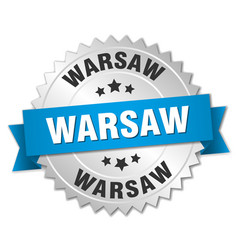 Warsaw round silver badge with blue ribbon vector