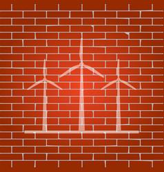 wind turbines sign whitish icon on brick vector image